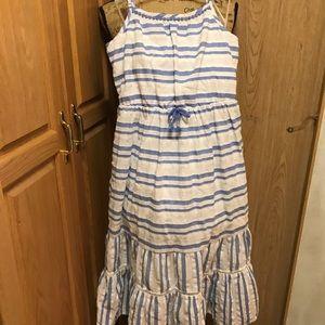 Cat & Jack girls 10-12 long blue white maxi dress